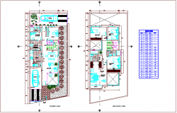Door and window schedule view for single family floor plan dwg file