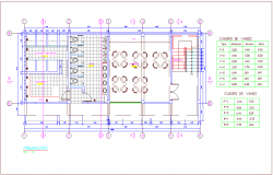 Door and window schedule with first floor plan of small office with architectural view dwg file