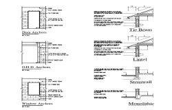 Door and window structure detail elevation 2d view autocad file