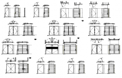Door and window structure detail plan, elevation and section 2d view layout dwg file