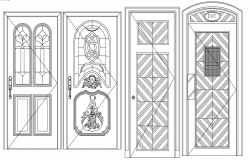 Door design block view dwg file