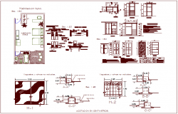 Door design different view with plan of house dwg file