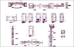 Door design with exterior,interior and sectional view dwg file