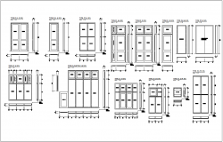 Door design with plan,elevation and side view for office area dwg file