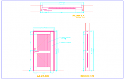 Door design with sectional view