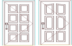 Door details of one family house dwg file