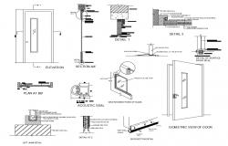Door elevation, isometric view and installation details dwg file