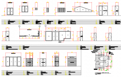 Door elevation and section plan autocad file
