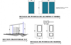 Door elevation and section plan detail dwg file