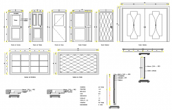 Door elevation plan detail autocad file