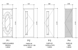 Door elevation plan detail dwg file