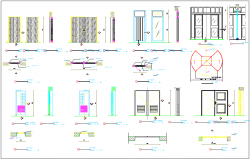 Door elevation section & side elevation section detail dimensions view dwg file