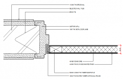 Door installation details of bathroom dwg file