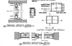 Door installation details of bungalow dwg file