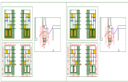 Door installation details of cafeteria dwg file