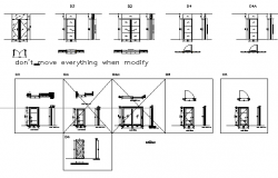 Door installation details of one family house dwg file