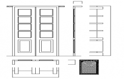 Door installation details with cut details dwg file