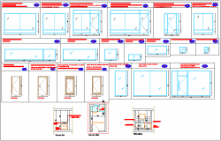 Door window elevation view detail dwg file