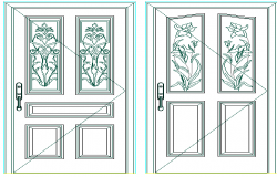 Door with flower decoration of house dwg file