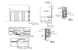Doors, windows and ventilation installation details of toilets dwg file