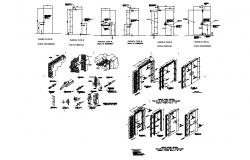 Doors against fire installation cad drawing details dwg file