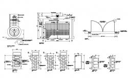 Doors and gate elevation, section and installation cad drawing details dwg file