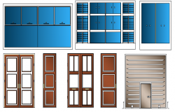 Doors and window elevation of shopping center dwg file