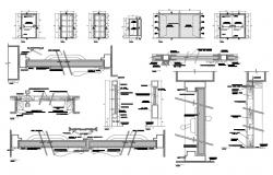 Doors and windows elevation, installation and car pantry details dwg file