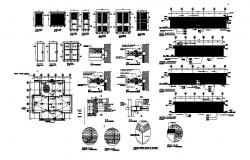 Doors and windows elevation and installation details of office building dwg file