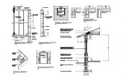 Doors and windows installation and construction details of house dwg file