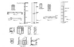 Doors and windows installation details of house with staircase dwg file