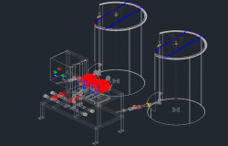 Dosage system 3 D plan detail dwg file