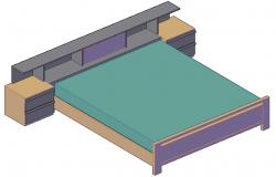 Double Bed Design With Side Table And Backside Storage 3D MAX File