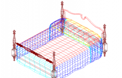 Double bad 3 D  elevation detail dwg file