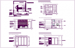 Double bed design view with project room dwg file