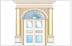 Double door design view with column