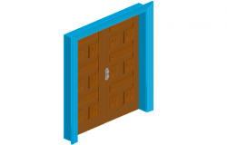 Double door design with wooden frame