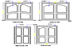 Double door installation details of house doors design dwg file