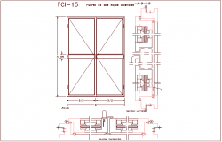 Double door view with horizontal and vertical section dwg file