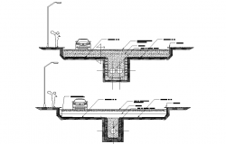 Drainage section plan autocad file