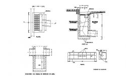 Drainage sewer system section, plan and structure details dwg file