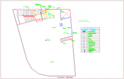 Drainage water line of roof plan for commercial building dwg file