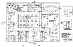Drawing  of office with 54'1'' x 41'8'' with Opening details in dwg file
