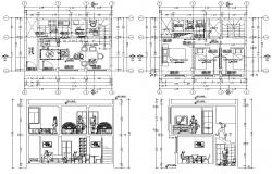Drawing of 2 Storey House 7.00mtr x 5.00mtr with Elevation and section in Autocad file