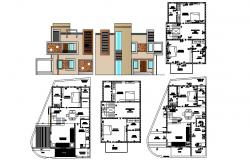 Drawing of 2 storey Bungalow with electric layout and elevation in dwg file