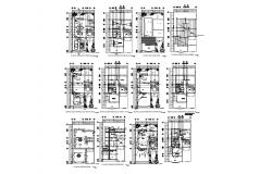Drawing of 2 storey house plan 10.00mtr x 20.00mtr with furniture details in dwg file