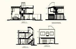 Drawing of 2 storey house with different section and elevation in dwg file