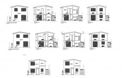 Drawing of 2 storey house with elevation in dwg file