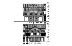 Drawing of 2 storey house with elevation in dwg file which provides
