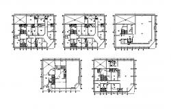 Drawing of 3 storey building with the sanitary layout in dwg file